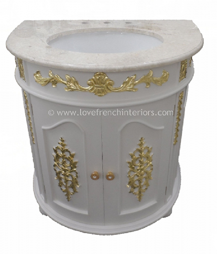 Bespoke Demi Lune Ornate Sink Vanity Unit